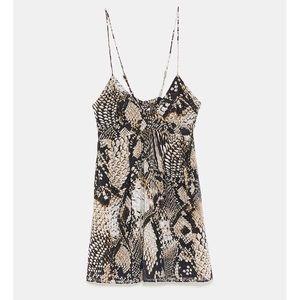 NWT Zara Snakeskin Print Dotted Mesh Dress